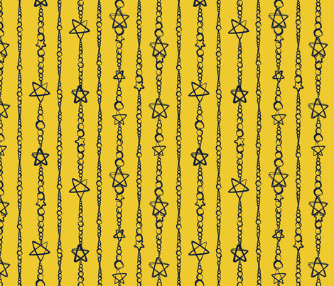 Star Strung Pearls Gold/Dark Blue fabric by wanderingdreams on Spoonflower - custom fabric
