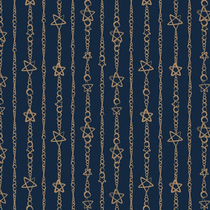 Star Strung Pearls Dark Blue/Tan