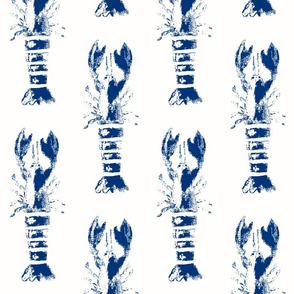 Lobster White & Navy Wood Block Print