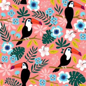 Toucan Floral Jungle coral