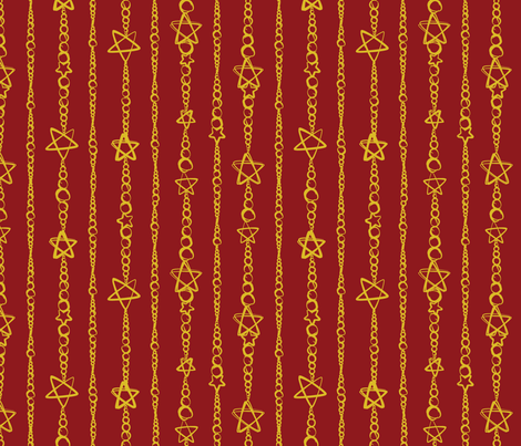 Star Strung Pearls Crimson/Gold fabric by wanderingdreams on Spoonflower - custom fabric