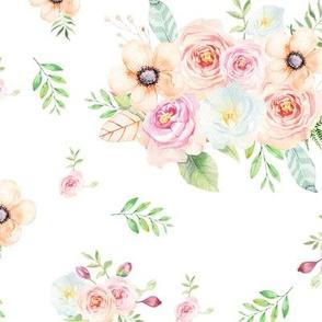 Sweet Blush Pastel Peach Florals