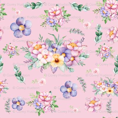 Pink Blush Floral Watercolor