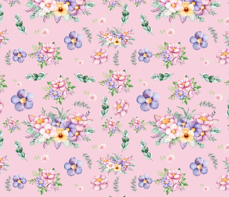 Pink Blush Floral Watercolor fabric by hudsondesigncompany on Spoonflower - custom fabric