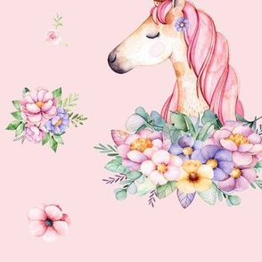 Unicorns and Watercolor Flowers on Pink