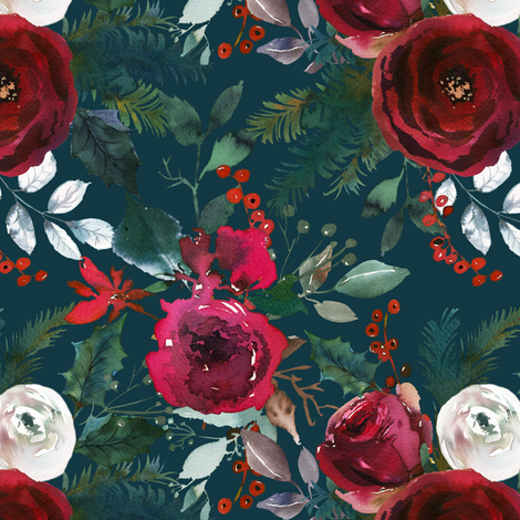 Christmas Floral Blue fabric by lil'faye on Spoonflower - custom fabric