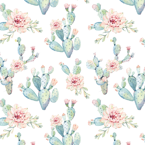 Watercolor Cactus // Medium Scale fabric by hipkiddesigns on Spoonflower - custom fabric
