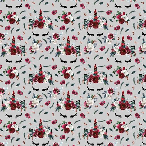 "1.5"" Vintage Christmas Unicorns Grey Small fabric by lil'faye on Spoonflower - custom fabric"