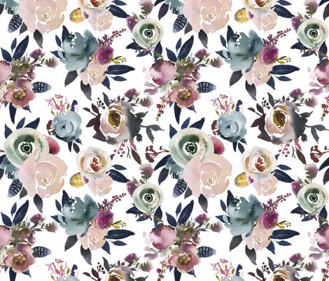 indigo floral white fabric by lil'faye on Spoonflower - custom fabric