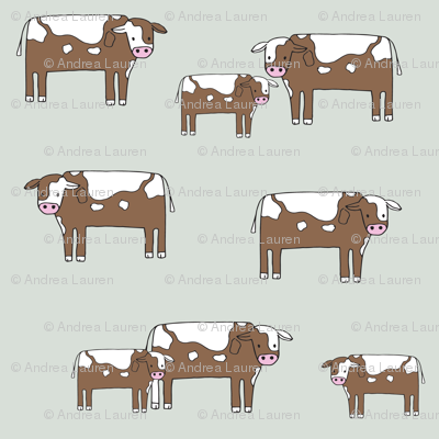 cow fabric // farmyard farm animals design cute cattle cows design - green