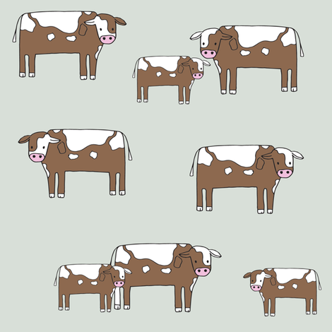 cow fabric // farmyard farm animals design cute cattle cows design - green fabric by andrea_lauren on Spoonflower - custom fabric