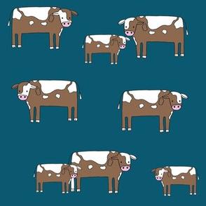 cow fabric // farmyard farm animals design cute cattle cows design - blue