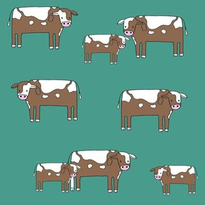 cow fabric // farmyard farm animals design cute cattle cows design - teal