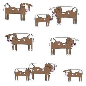 cow fabric // farmyard farm animals design cute cattle cows design - white