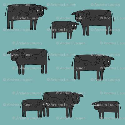 cow fabric // farmyard farm animals design cute cattle cows design - black and blue