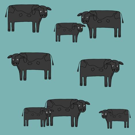 cow fabric // farmyard farm animals design cute cattle cows design - black and blue fabric by andrea_lauren on Spoonflower - custom fabric