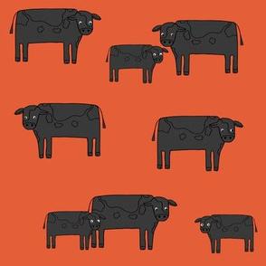 cow fabric // farmyard farm animals design cute cattle cows design - black and orange