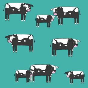 cow fabric // farmyard farm animals design cute cattle cows design - bw and teal