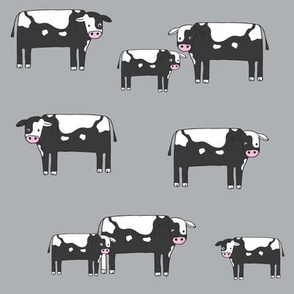 cow fabric // farmyard farm animals design cute cattle cows design - bw and grey