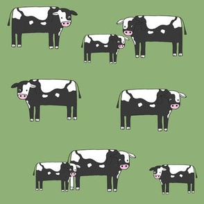 cow fabric // farmyard farm animals design cute cattle cows design - bw and green