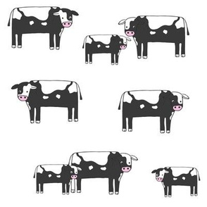 cow fabric // farmyard farm animals design cute cattle cows design - bw