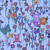 The bears and the bees - pointillism purple