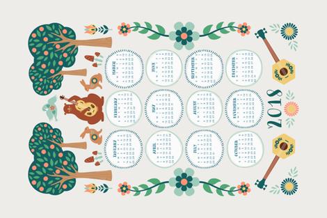 2018 Forest Folk Calendar fabric by runningriverdesign on Spoonflower - custom fabric
