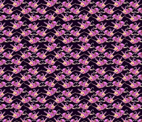 octoballet_pink_on_black_medium fabric by leroyj on Spoonflower - custom fabric