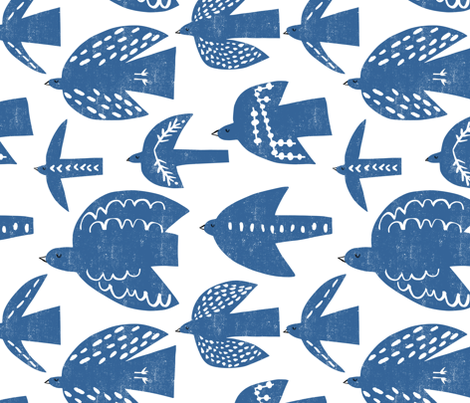 free birds (blue) fabric by pattyryboltdesigns on Spoonflower - custom fabric