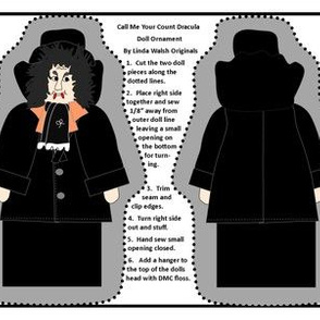Halloween Call Me Your Count Dracula Victorian Cut and Sew Doll