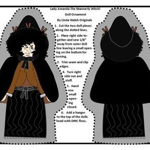 Halloween Lady Amanda The Mannerly Witch Cut and Sew Doll