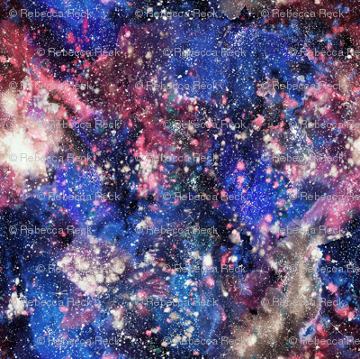 Purple Galaxy Watercolor - painted seamless space pattern
