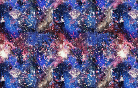 Purple Galaxy Watercolor - painted seamless space pattern fabric by rebecca_reck_art on Spoonflower - custom fabric
