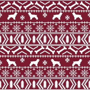 Cocker Spaniel fair isle christmas fabric dog breed pet friendly holiday maroon