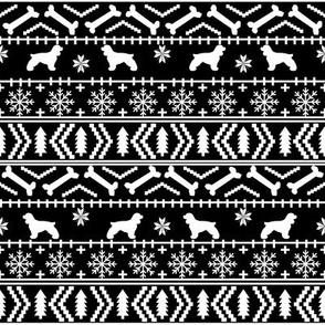 Cocker Spaniel fair isle christmas fabric dog breed pet friendly holiday black and white