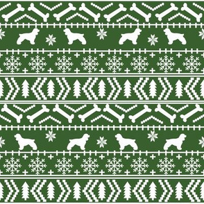 Cocker Spaniel fair isle christmas fabric dog breed pet friendly holiday medium green
