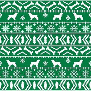 Cocker Spaniel fair isle christmas fabric dog breed pet friendly holiday green