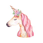Unicorn Love Watercolor with Flowers