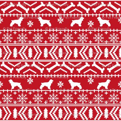 Cocker Spaniel fair isle christmas fabric dog breed pet friendly holiday red