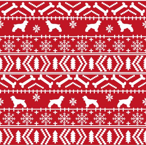 Cocker Spaniel fair isle christmas fabric dog breed pet friendly holiday red fabric by petfriendly on Spoonflower - custom fabric