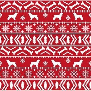 Cocker Spaniel fair isle christmas fabric dog breed pet friendly holiday red