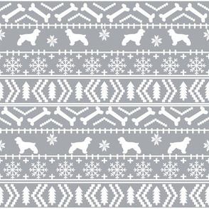 Cocker Spaniel fair isle christmas fabric dog breed pet friendly holiday grey