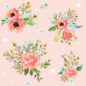 "8"" Pink Peach & Blue Florals / Pink Background with Stars"