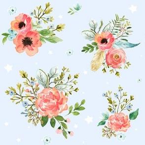 Pink Peach & Blue Florals / Blue /Stars