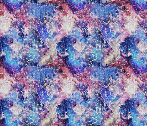 Galaxy space waterolor with woven structure - purple and blue fabric by rebecca_reck_art on Spoonflower - custom fabric