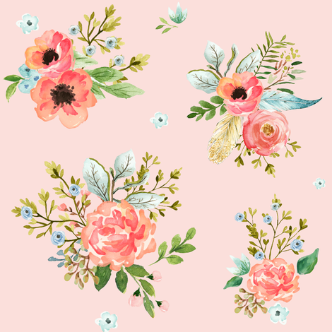 """8"""" Pink Peach & Blue Florals / Pink Background  fabric by shopcabin on Spoonflower - custom fabric"""