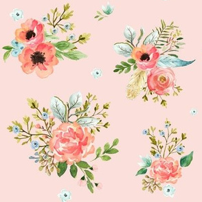 "8"" Pink Peach & Blue Florals / Pink Background"