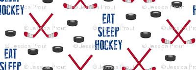 Eat Sleep Hockey - red and blue