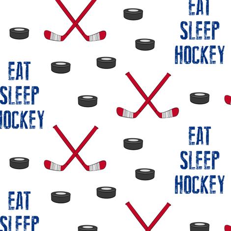 Eat Sleep Hockey - red and blue fabric by littlearrowdesign on Spoonflower - custom fabric