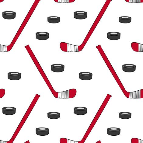 hockey - sports fabric - red fabric by littlearrowdesign on Spoonflower - custom fabric